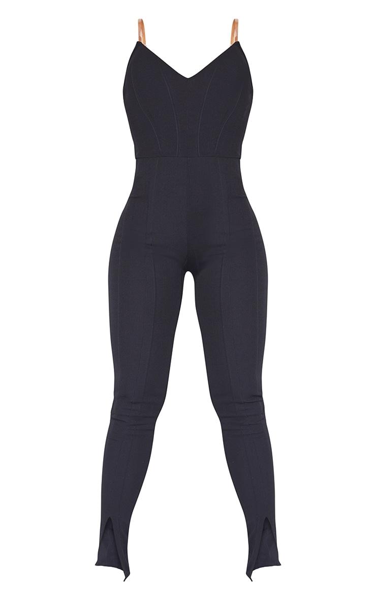 Black Clear Strap Bandage Split Hem Jumpsuit 5