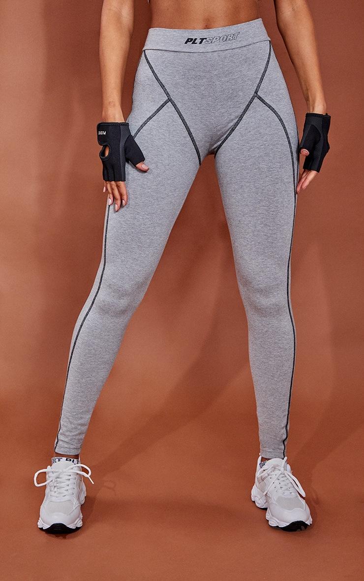 Grey Marl Cotton Luxe Stitch Detail Gym Leggings 2
