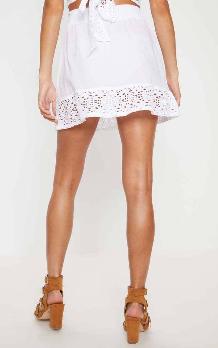 White Broderie Frill Hem Mini Skirt 4
