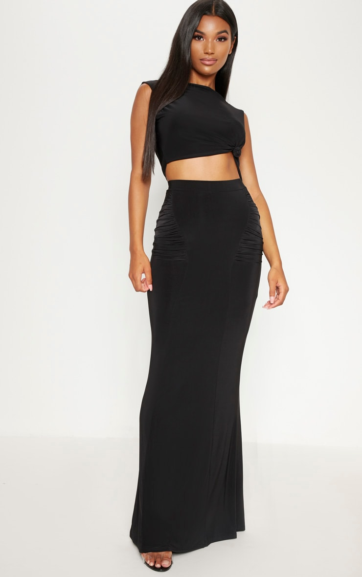 Black Slinky High Neck Crop Top 3