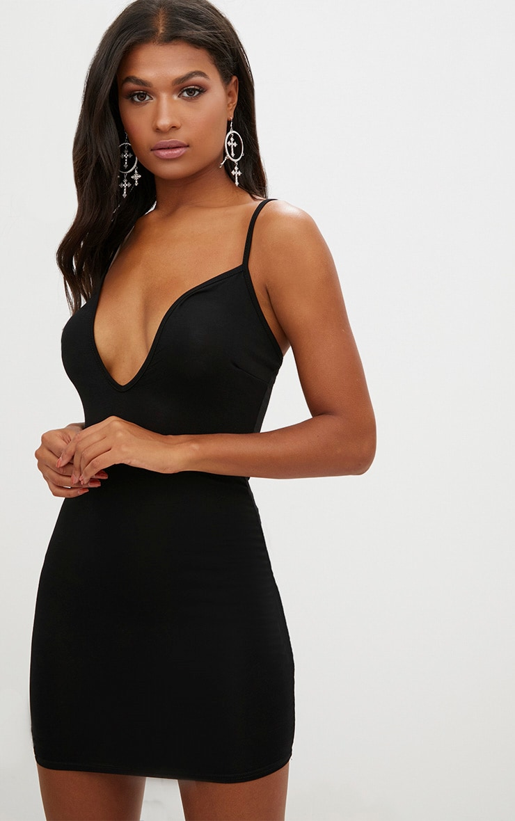 Black Strappy V Plunge Bodycon Dress 1