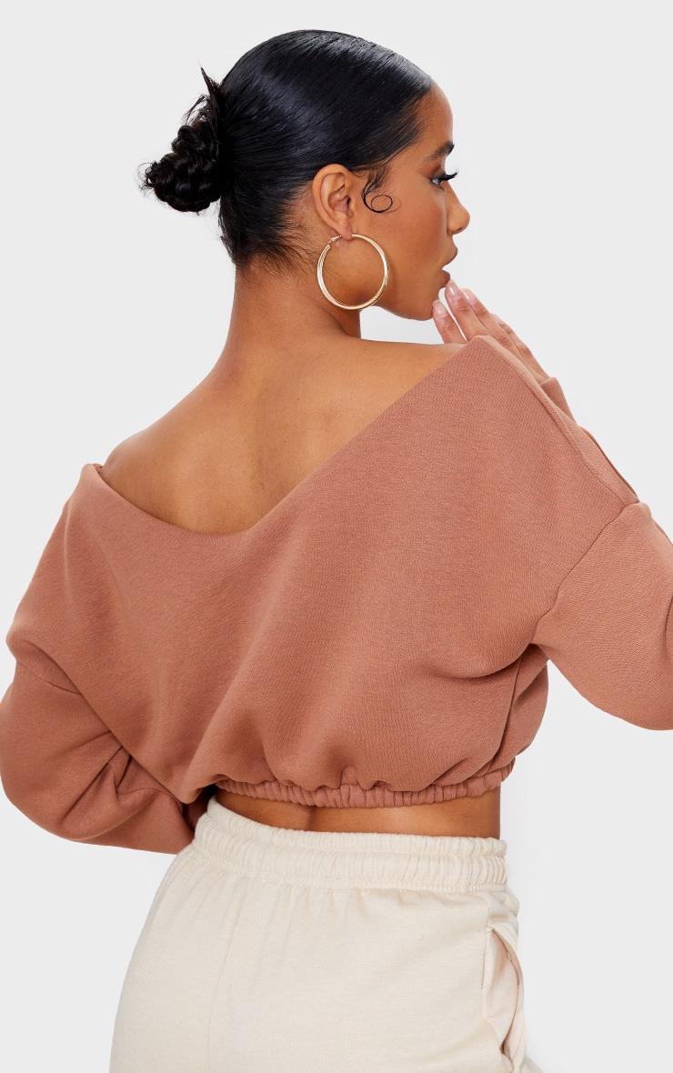 Camel Crop Off Shoulder Sweater 2