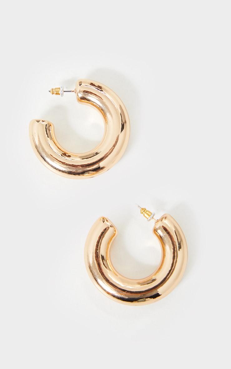 Gold Mini Chunky Hoop Earrings 2