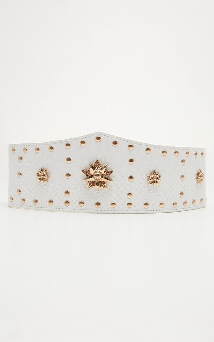 White Gold Studded and Star Statement Belt 2