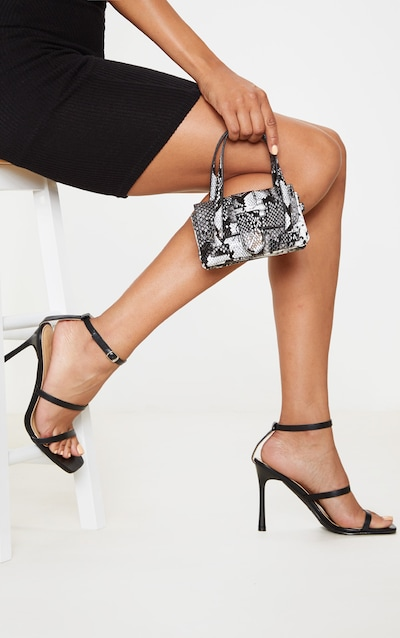 Black Triple Strap Square Toe Sandal