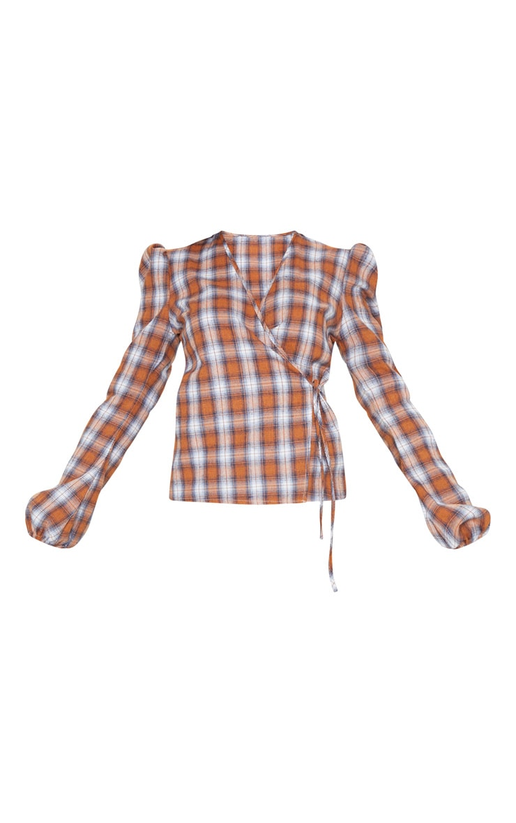 Brown Check Plunge Tie Side Long Sleeve Top 3