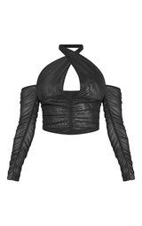 Black Mesh Ruched Cross Front Halterneck Cold Shoulder Crop Top 5