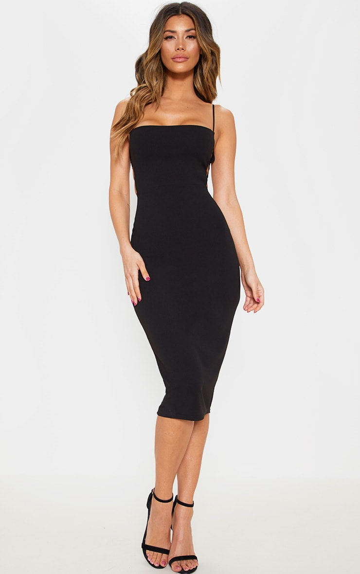 Black Side Cut Out Detail Midi Dress Prettylittlething