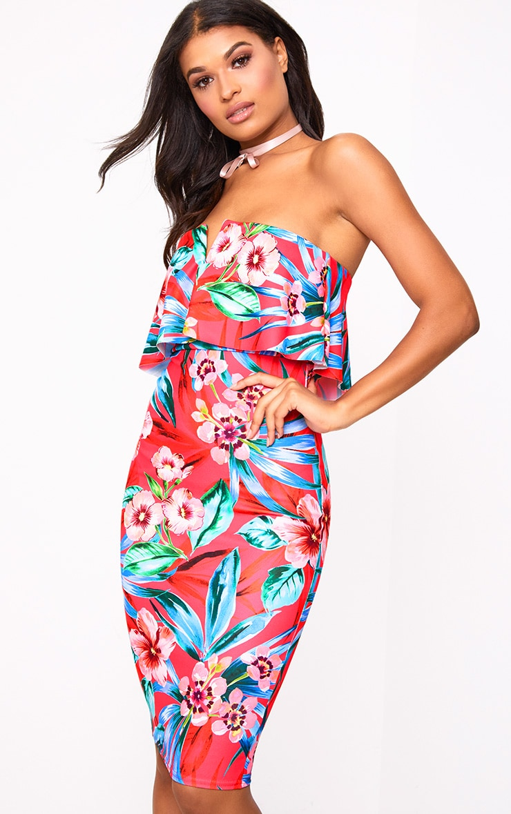 Hot Pink Floral Bandeau Midi Dress  1