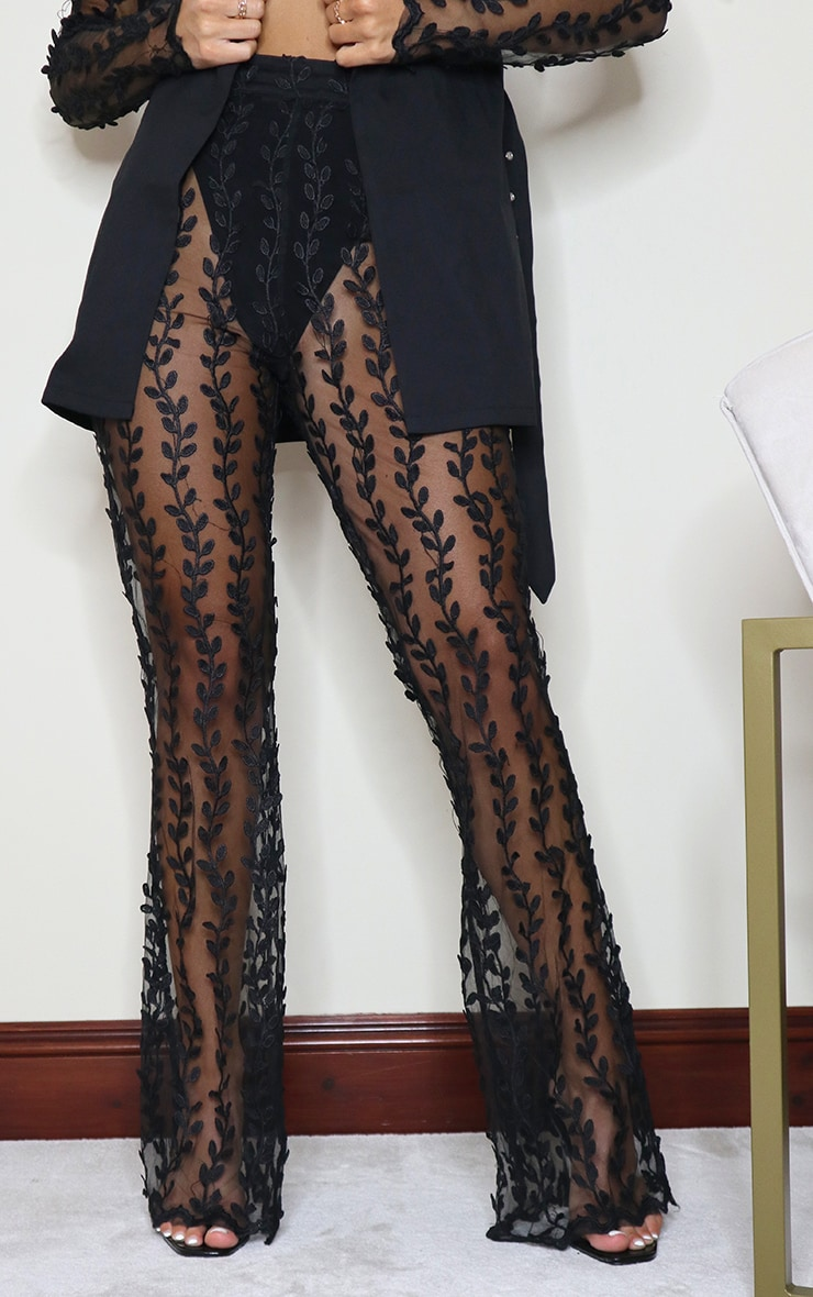 Black Woven Sheer Lace Flared Trousers 2