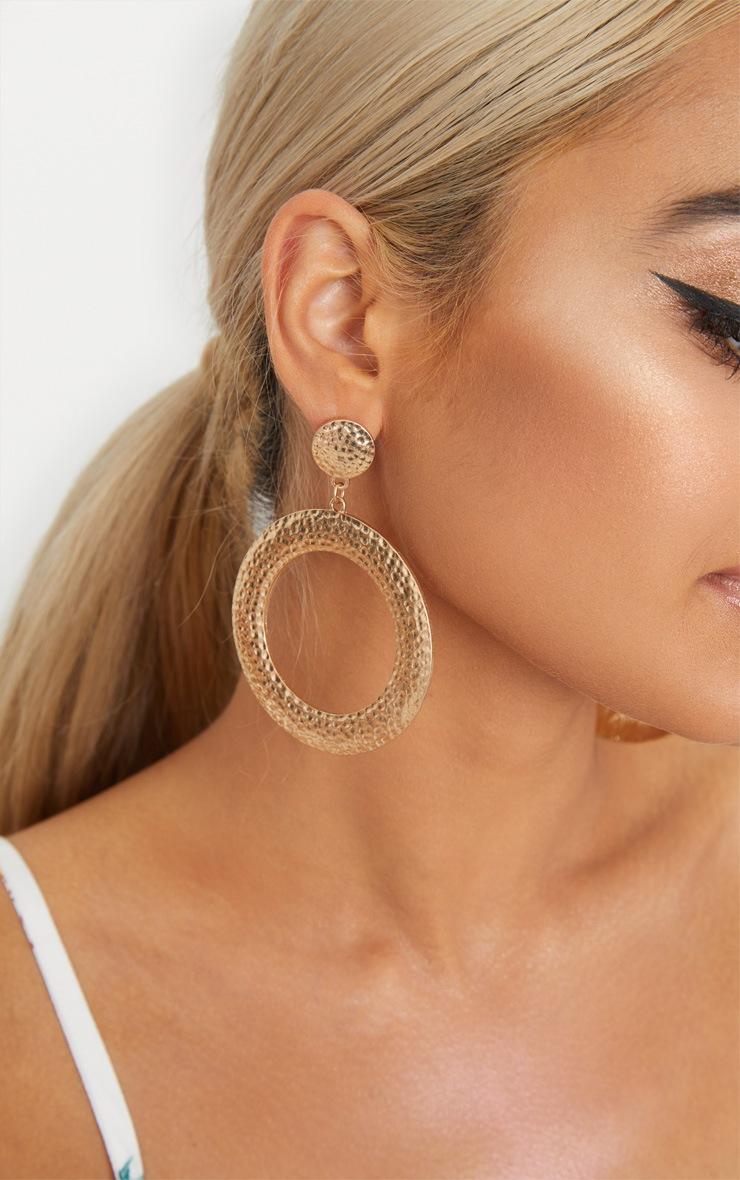Gold Textured Stud Hoop Earrings 2