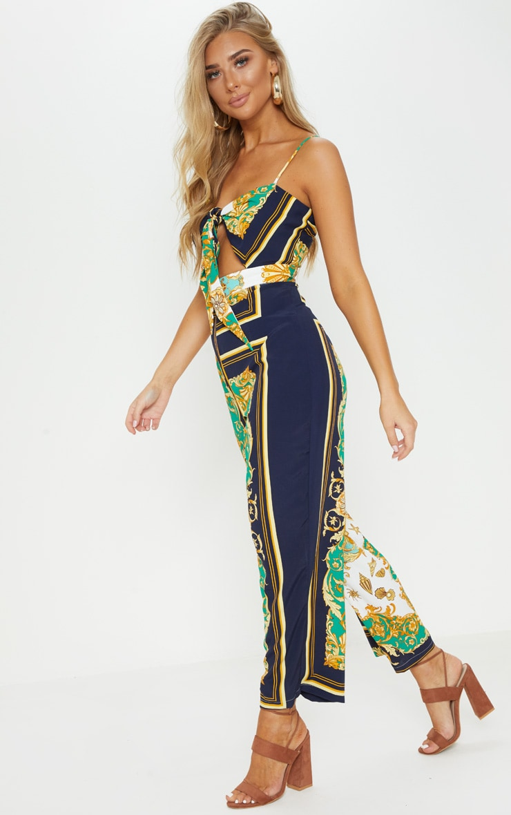 Green Shell Print Tie Front Beach Jumpsuit 4