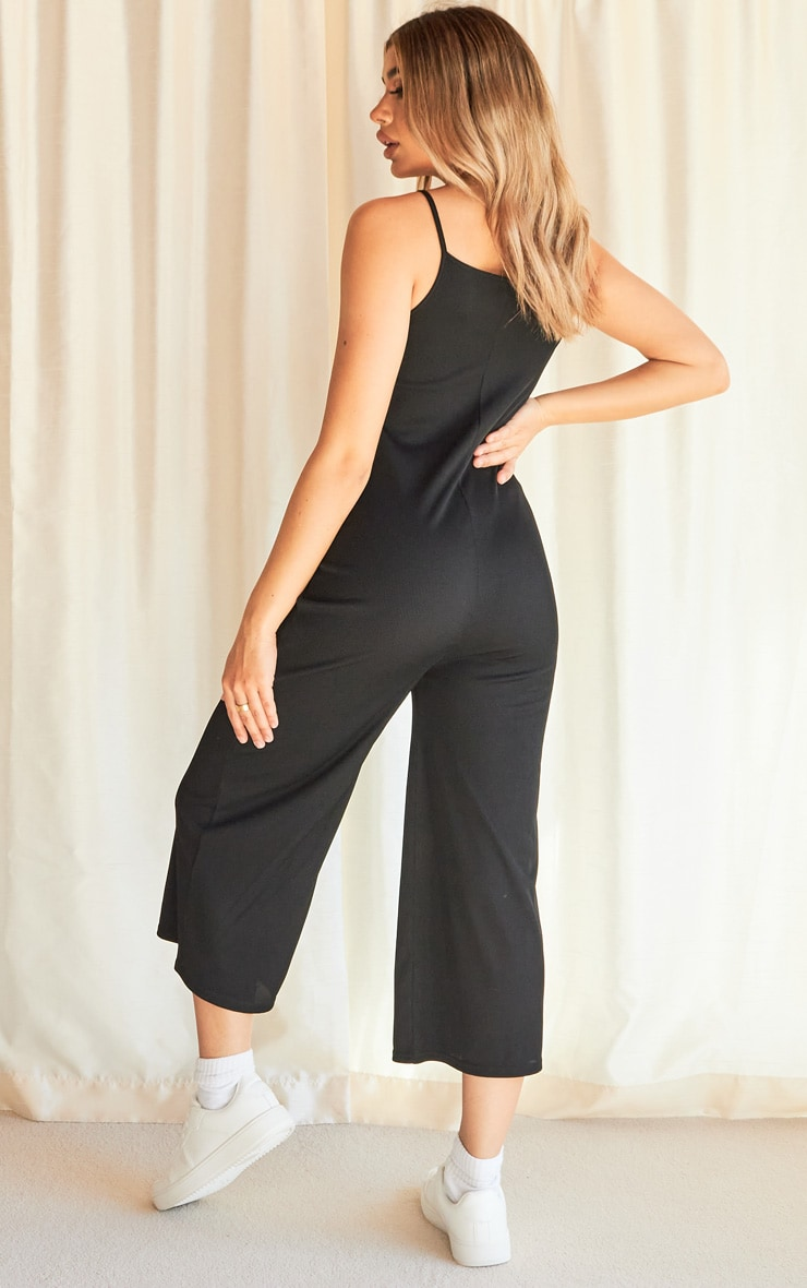 Black Rib Wide Leg Culotte Jumpsuit 2