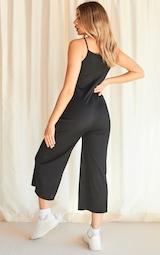 Black Rib Wide Leg Culotte Jumpsuit 2