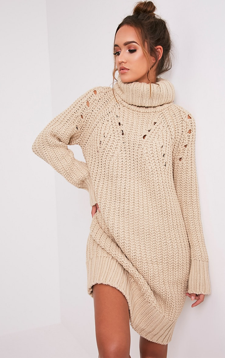 Xael Stone Knitted Roll Neck Overesized Dress 1