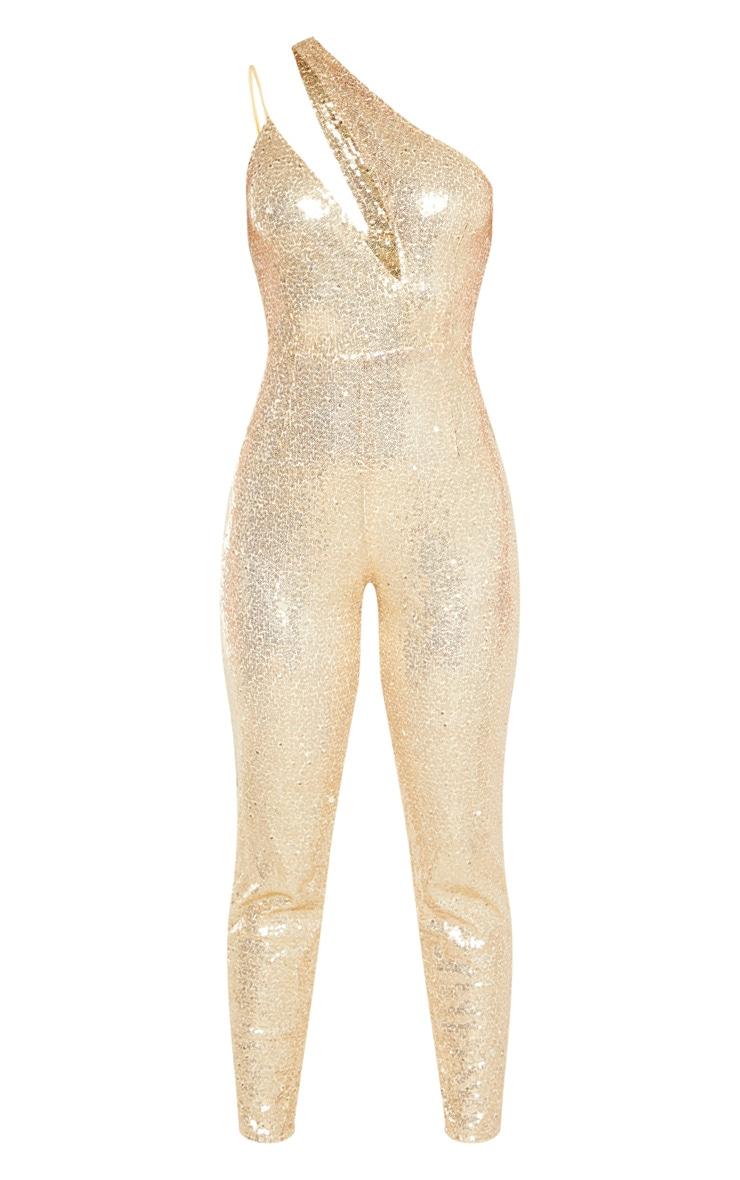Gold Sequin Asymmetric Slim Leg Jumpsuit 3