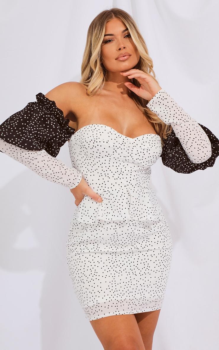 White Polka Dot Bardot Shift Dress 1