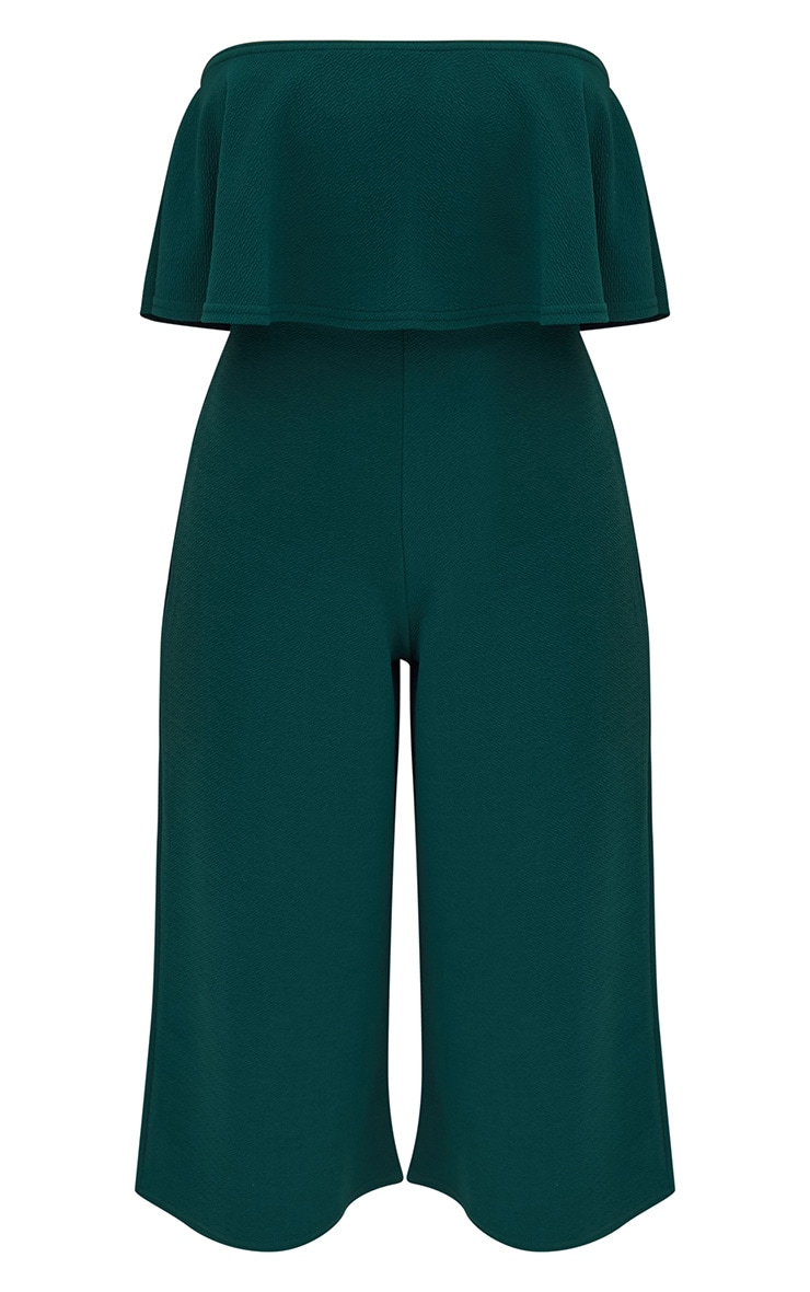 Emerald Green Bardot Double Layer Culotte Jumpsuit 3