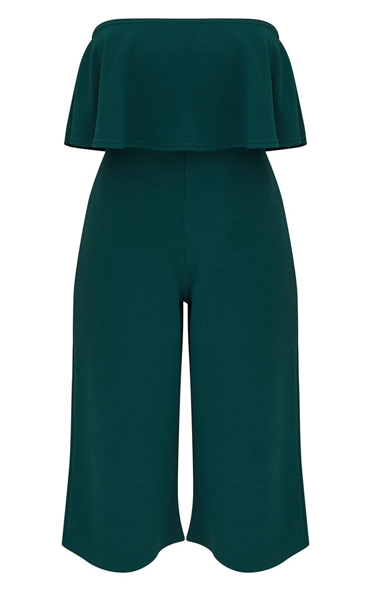 Combinaison jupe-culotte bardot double épaisseur vert émeraude 3