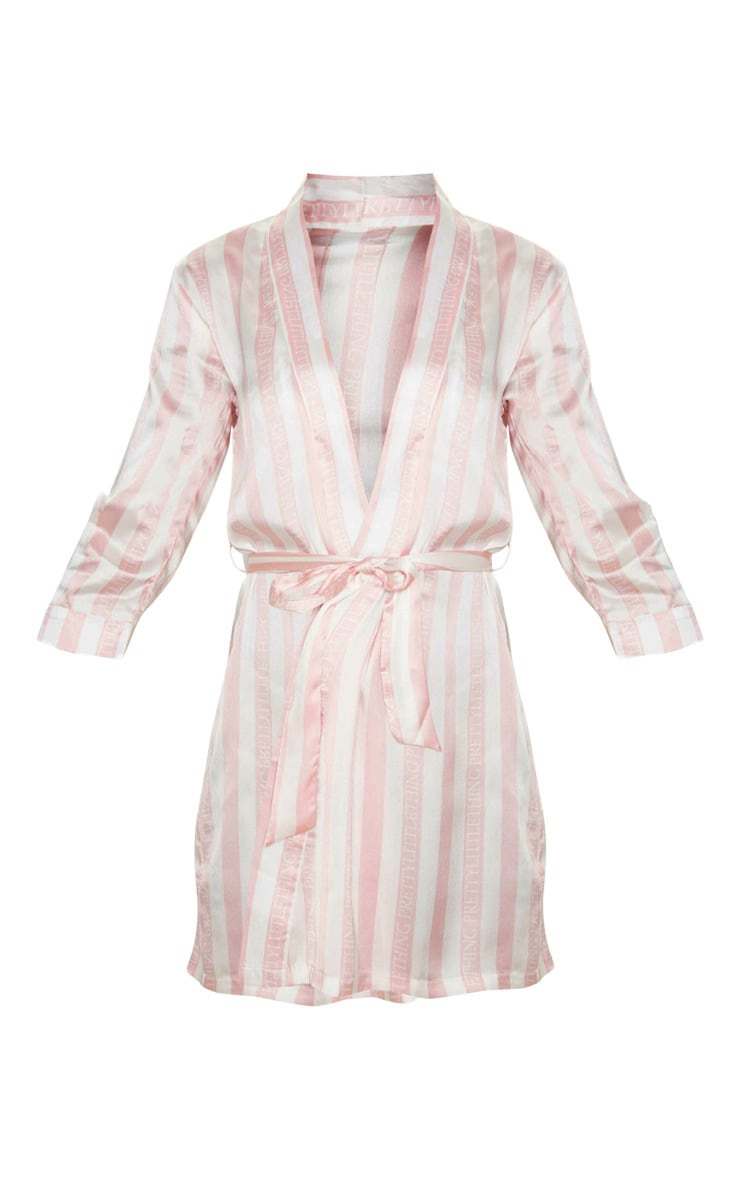 PRETTYLITTLETHING Baby Pink Striped Satin Robe 3
