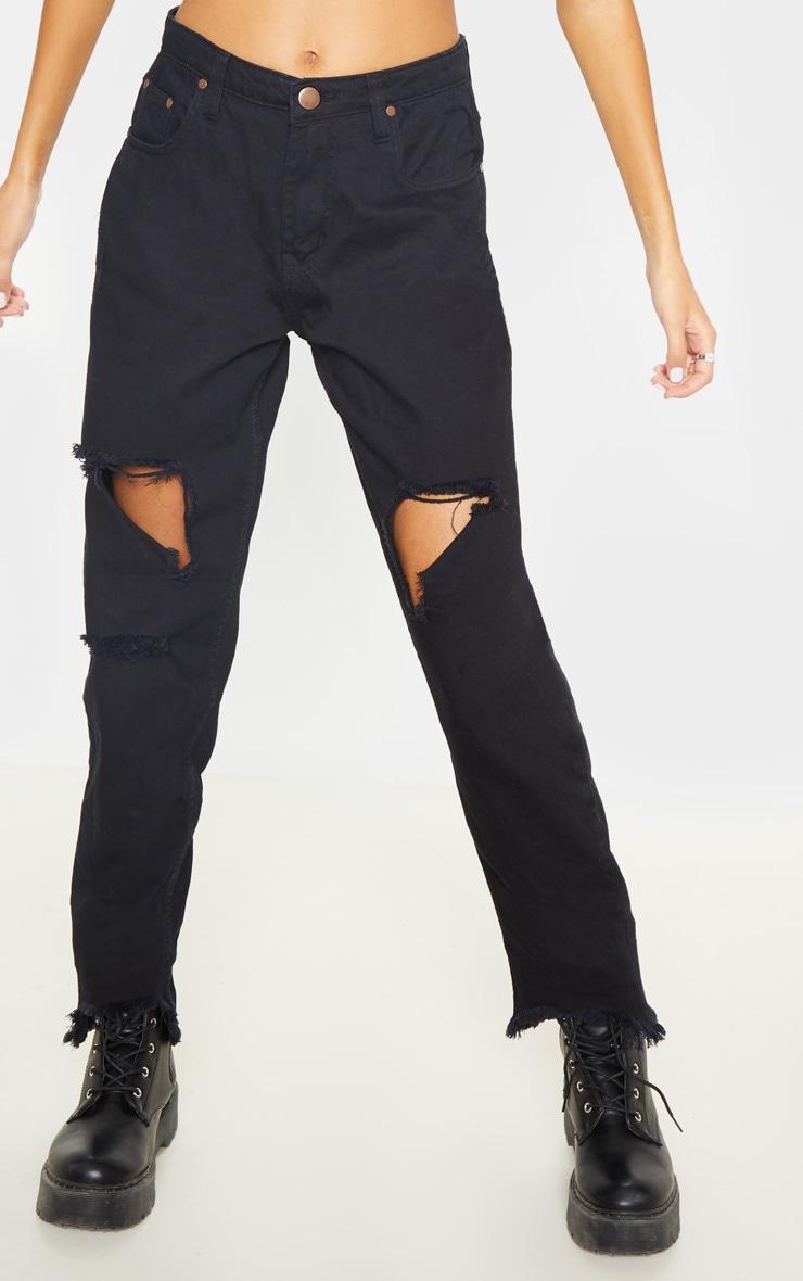 Tall - Jean noir déchiré à ourlet élimé 2