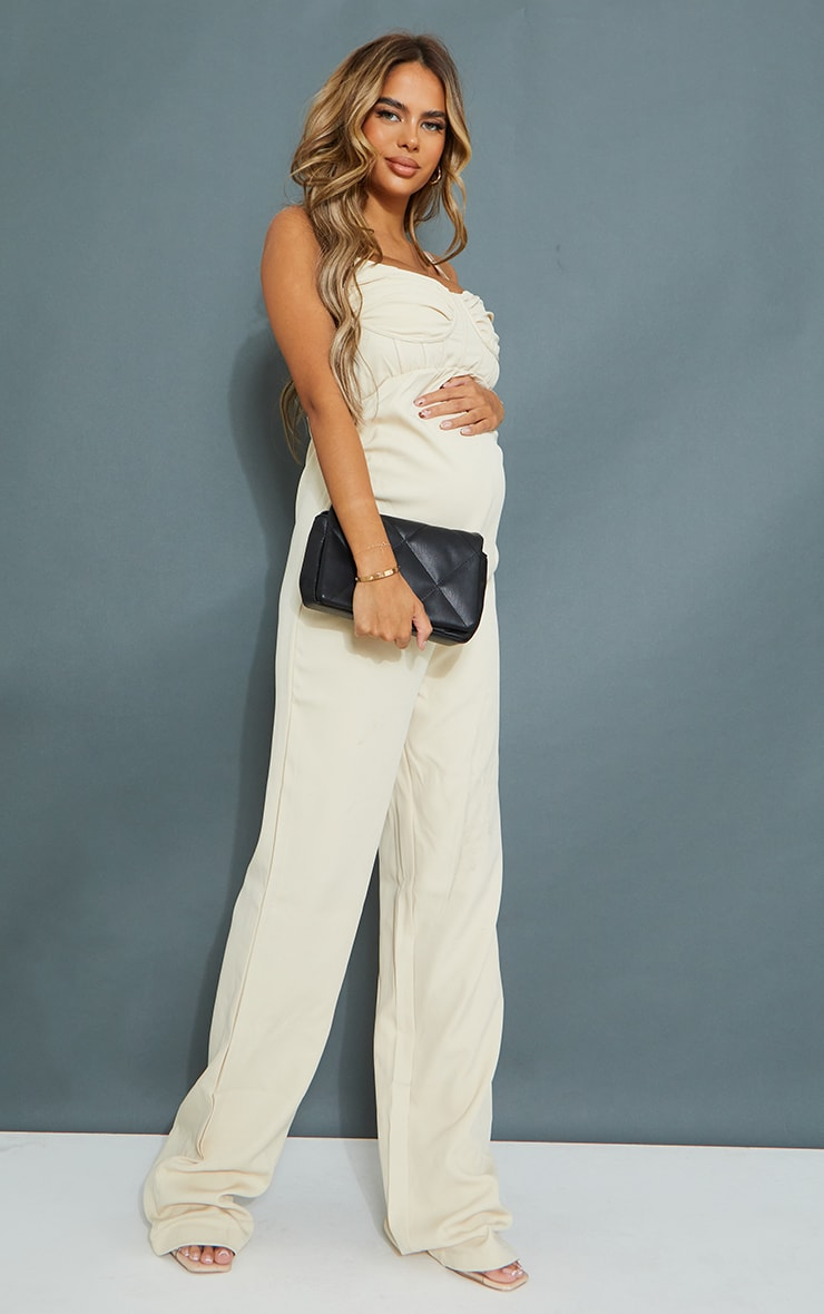 Maternity Stone Tailored Strappy Jumpsuit 3