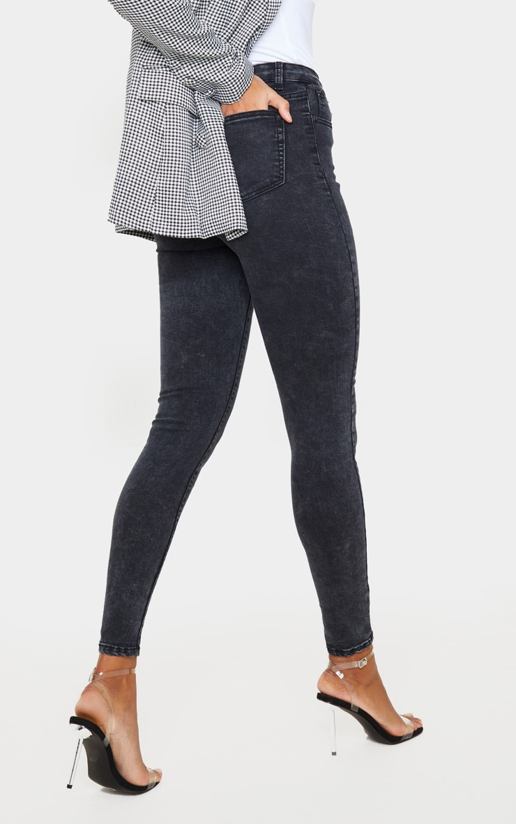 PRETTYLITTLETHING Black Acid 5 Pocket Skinny Jeans 4