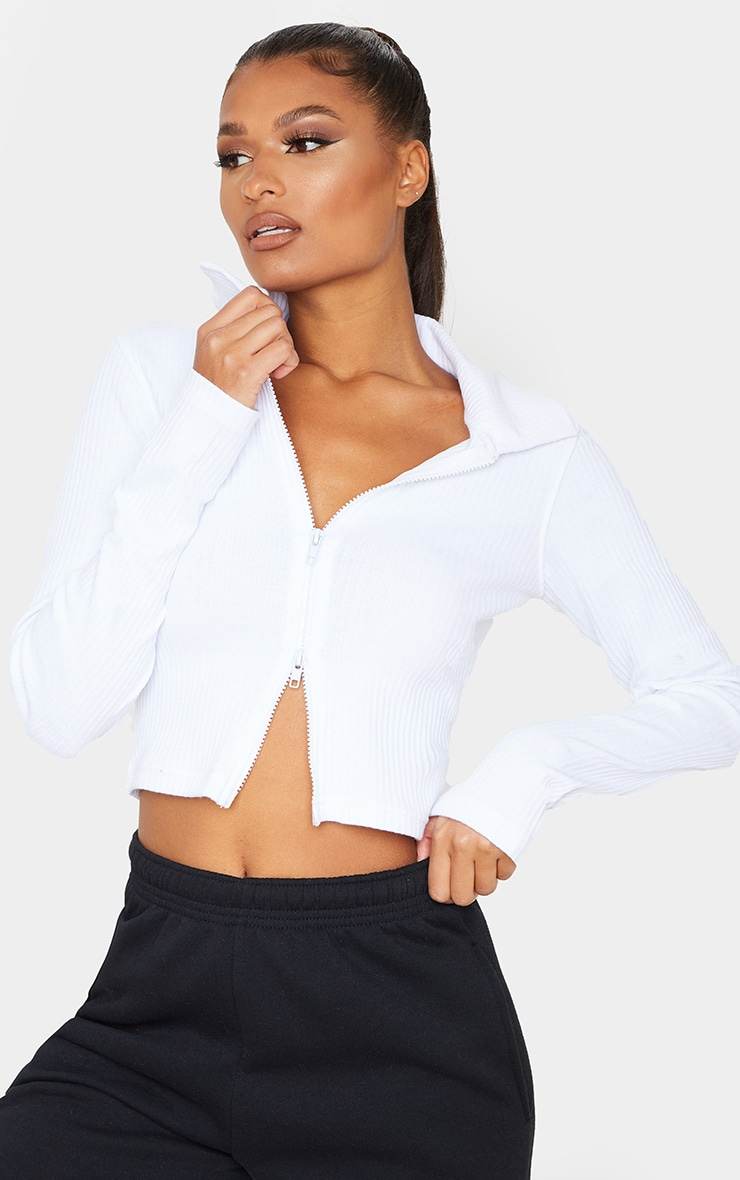 White Jumbo Rib Collar Double Zip Top 1