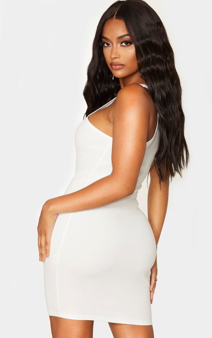 Shape Cream Crepe One Shoulder Bodycon Dress 2