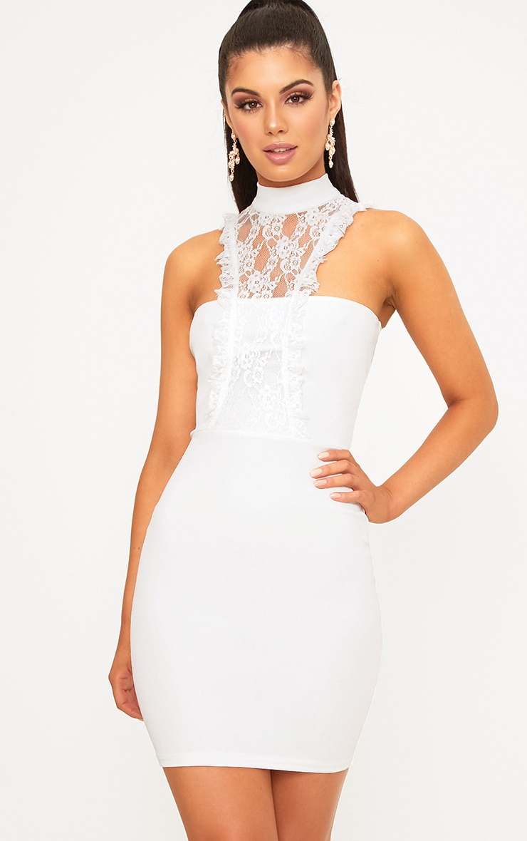 Jessalyn White Lace Overlay High Neck Bodycon Dress 1