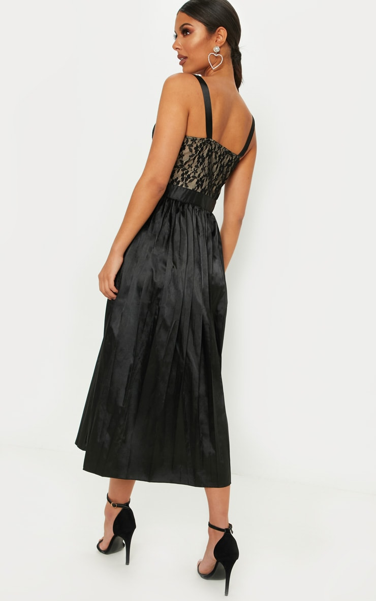Black Lace Top Pleated Skirt Midi Dress 2