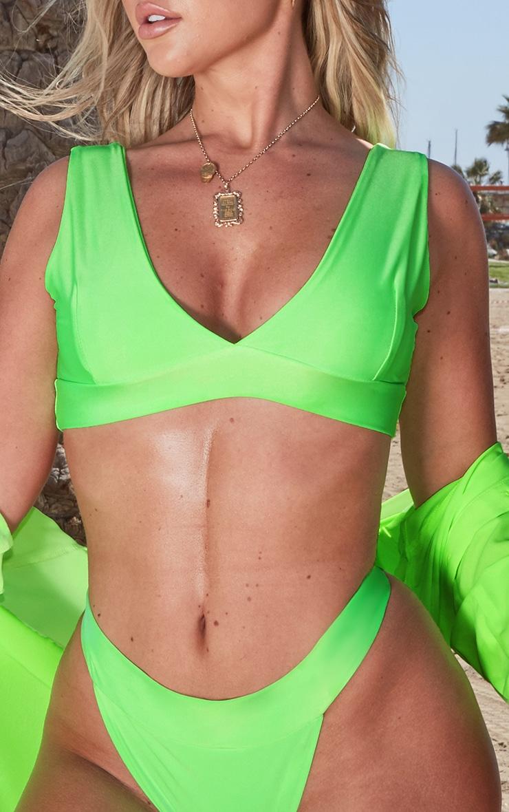 Neon Green Plunge Bikini Top 5