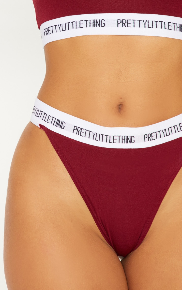 PRETTYLITTLETHING Maroon High Rise Panties 6