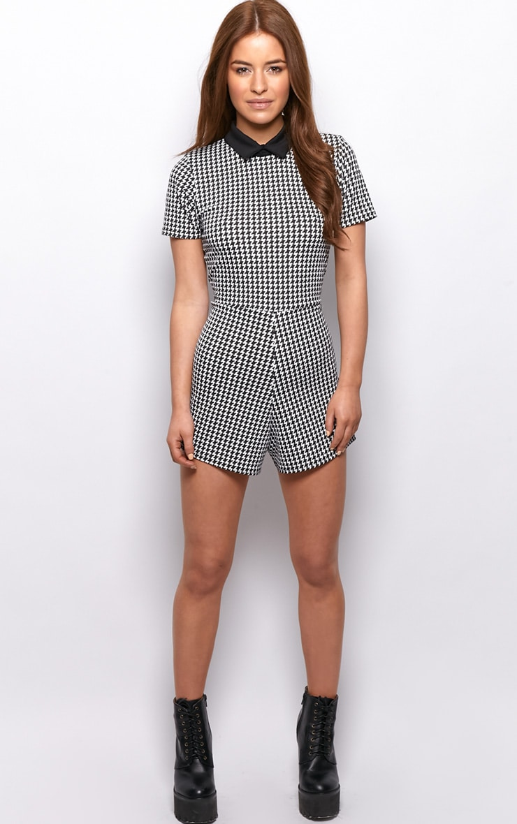 Sara Black & White Dogstooth Playsuit  3
