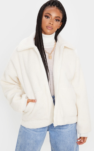 Cream Borg Zip Up Oversized Jacket