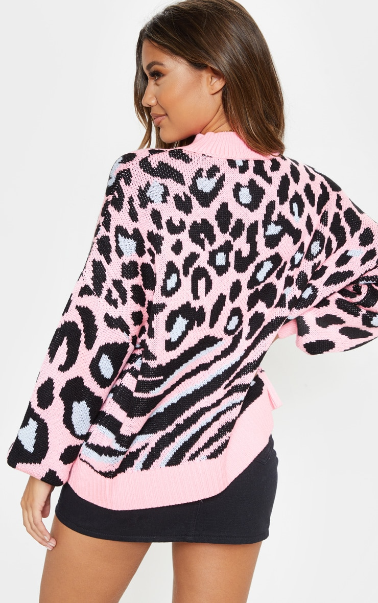 Pink Mixed Animal Print Knitted Sweater 2