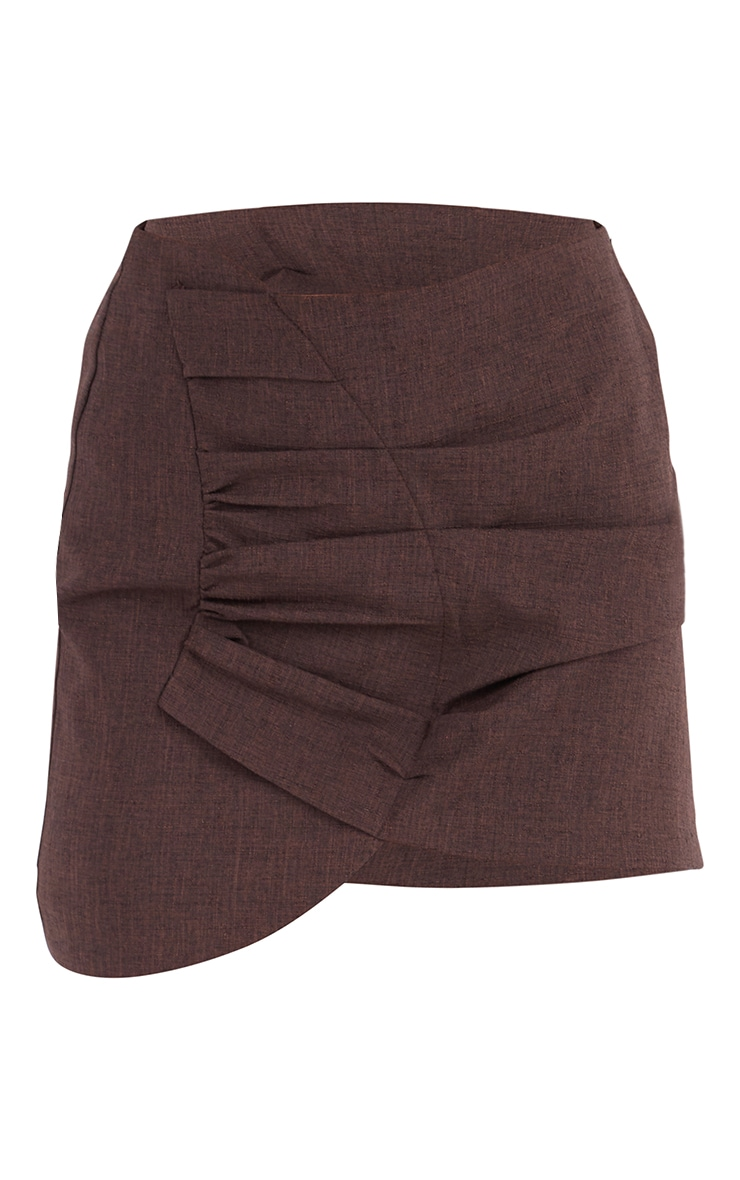 Brown Woven Ruched Front Wrap Over Skirt 6