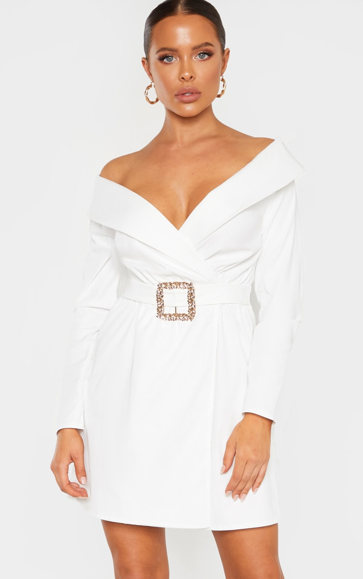 White Bardot Belt Detail Shift Dress 1