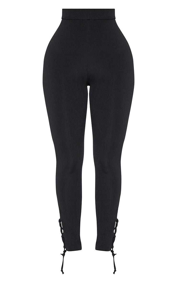 Shape Black Slinky Lace Up Detail High Waist Leggings 3
