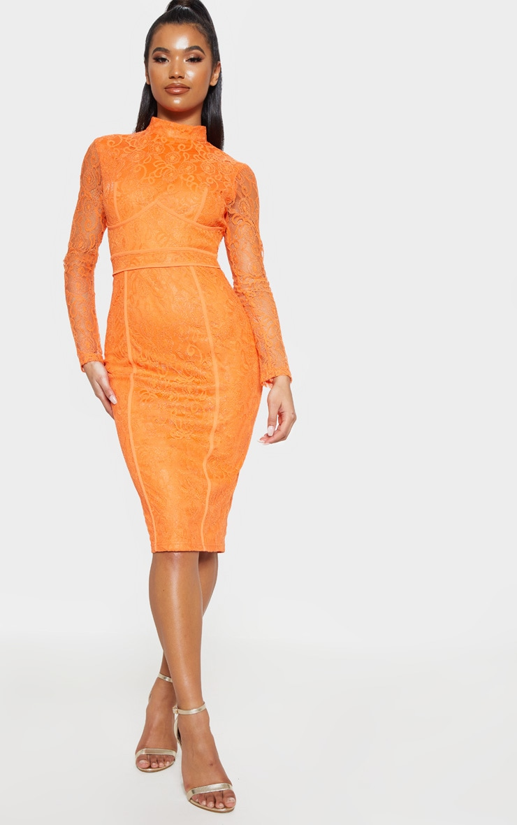 Bright Orange Lace Binding Detail High Neck Midi Dress 4