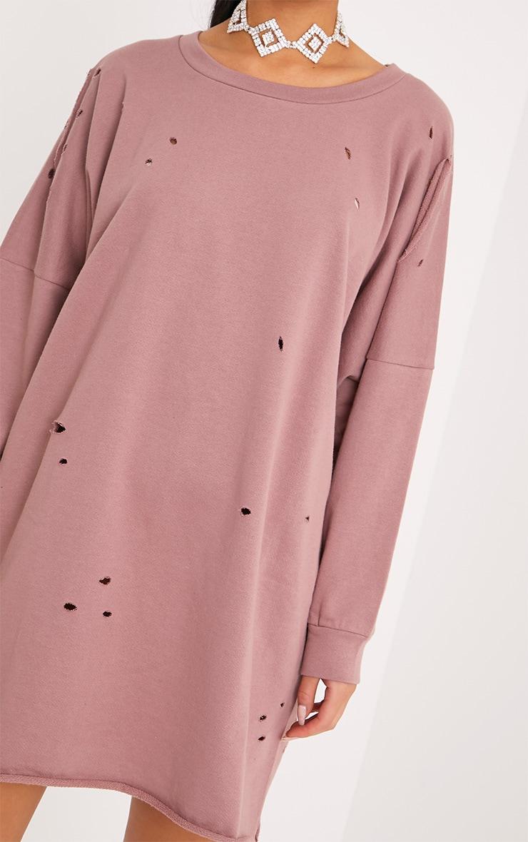 Emilia Dark Mauve Distressed Raw Edge Sweater Dress 5