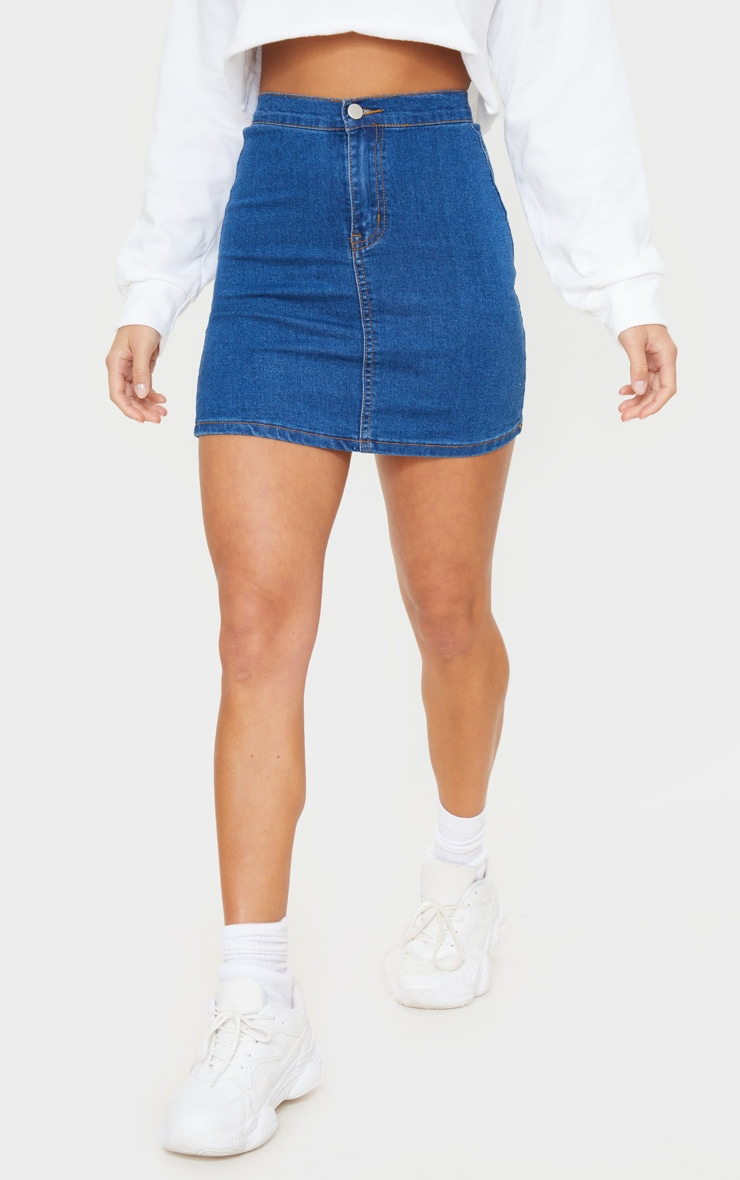 Petite Mid Blue Wash Disco Fit Denim Skirt 2