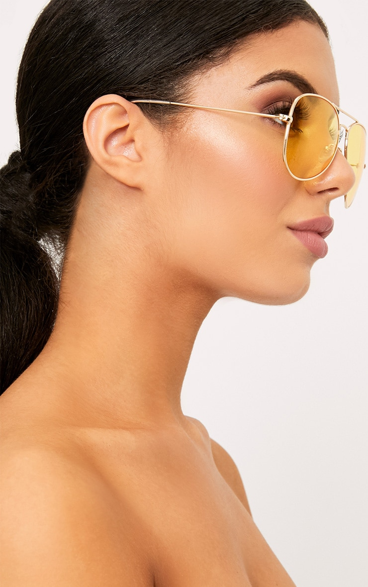 Kelie Yellow Tinted Lens Aviators 2