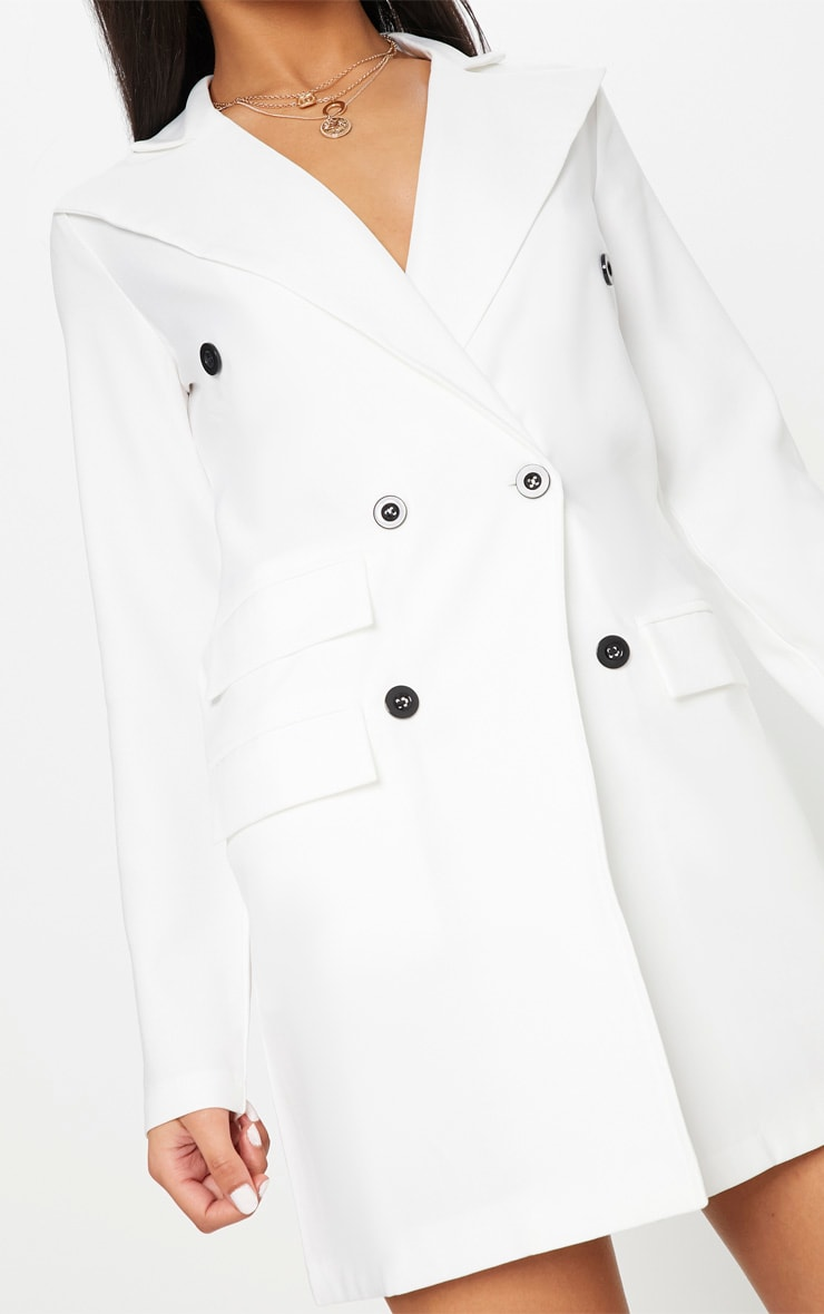 White Pocket Detail Blazer Dress 5
