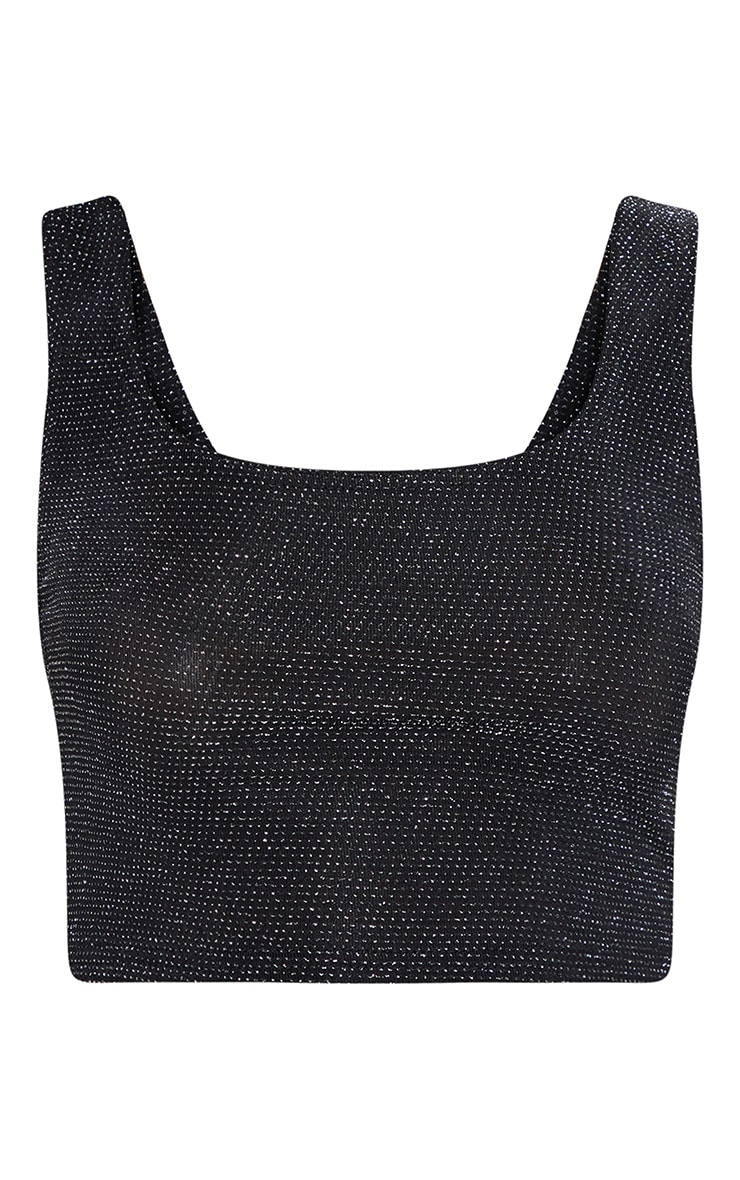 Black Textured Glitter Crop Top 4