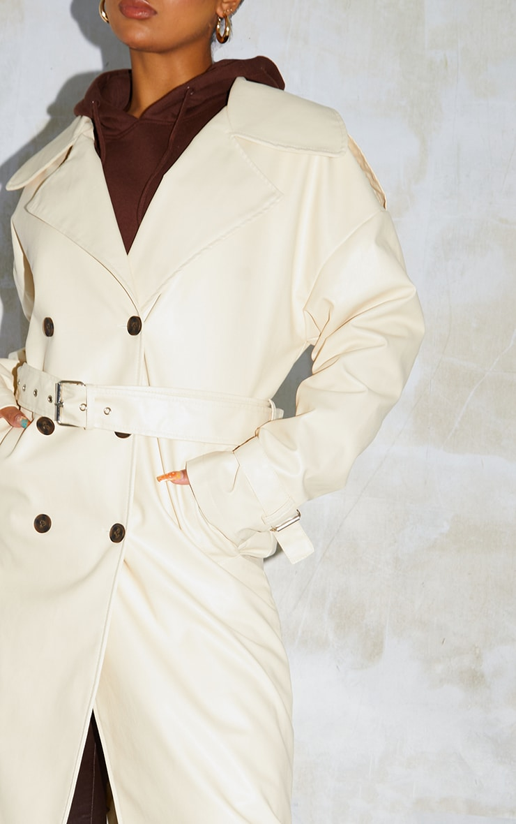 Cream Faux Leather Drop Shoulder Button Down Trench 4