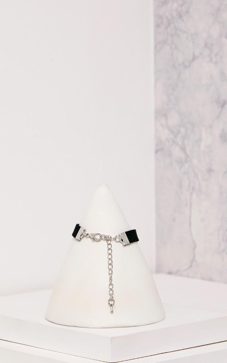Luza Black Embellished Cross Choker 5