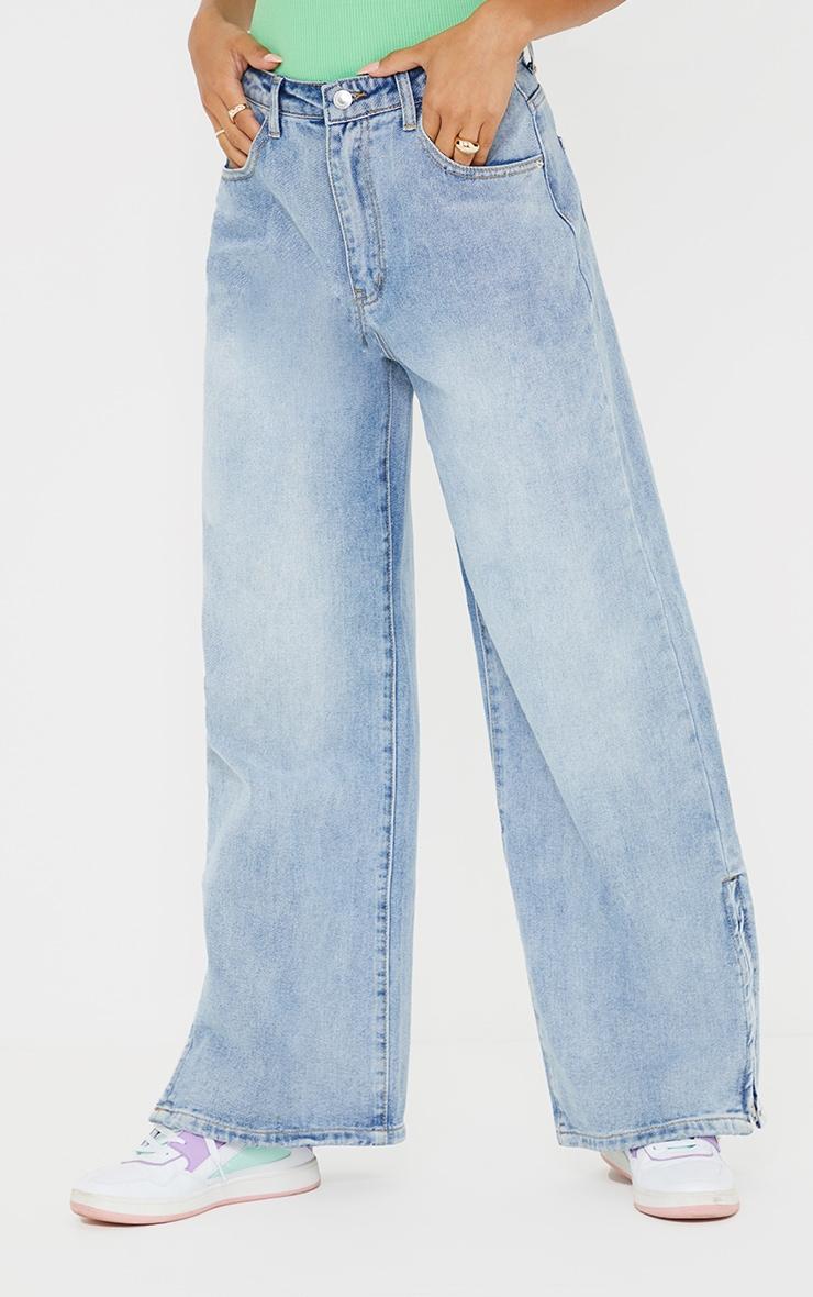 Light Blue Wash Zip Hem Wide Leg Jeans 2