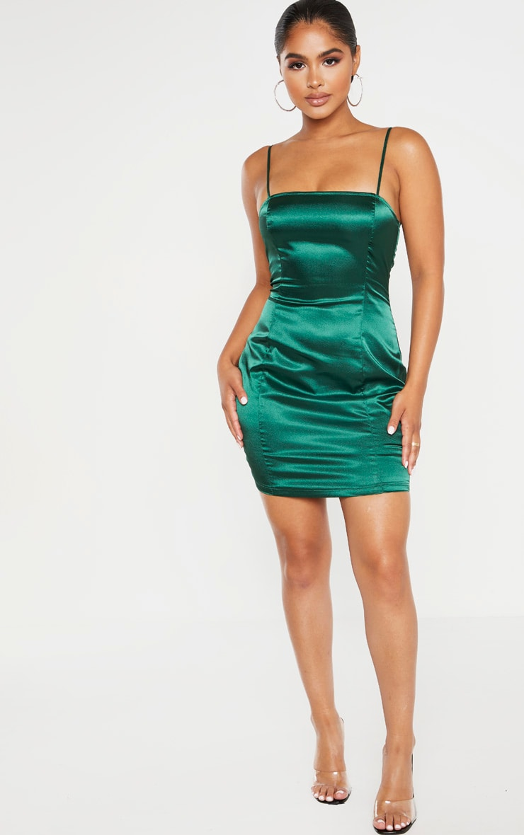 Petite Emerald Green Satin Strappy Straight Neck Bodycon Dress  4