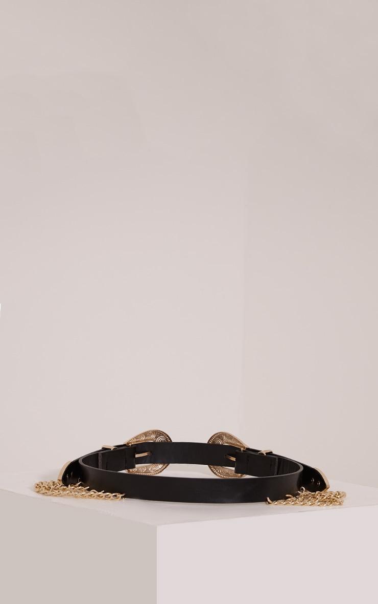 Stevie ceinture western noire à double boucles et chaînes 5